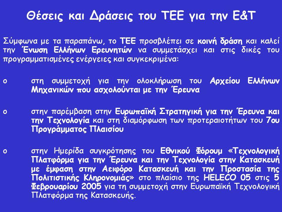 Θέσεις και Δράσεις του ΤΕΕ για την Ε&Τ Σύμφωνα με τα παραπάνω, το ΤΕΕ προσβλέπει σε κοινή δράση και καλεί την Ένωση Ελλήνων Ερευνητών να συμμετάσχει και στις δικές του προγραμματισμένες ενέργειες και συγκεκριμένα: o στη συμμετοχή για την ολοκλήρωση του Αρχείου Ελλήνων Μηχανικών που ασχολούνται με την Έρευνα o στην παρέμβαση στην Ευρωπαϊκή Στρατηγική για την Έρευνα και την Τεχνολογία και στη διαμόρφωση των προτεραιοτήτων του 7ου Προγράμματος Πλαισίου o στην Ημερίδα συγκρότησης του Εθνικού Φόρουμ «Τεχνολογική Πλατφόρμα για την Έρευνα και την Τεχνολογία στην Κατασκευή με έμφαση στην Αειφόρο Κατασκευή και την Προστασία της Πολιτιστικής Κληρονομιάς» στο πλαίσιο της HELECO 05 στις 5 Φεβρουαρίου 2005 για τη συμμετοχή στην Ευρωπαϊκή Τεχνολογική Πλατφόρμα της Κατασκευής.