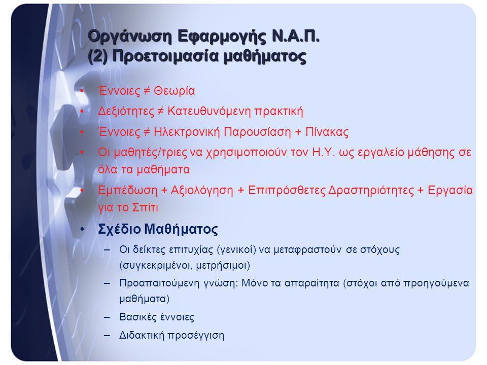 Οργάνωση Εφαρμογής Ν.Α.Π. (2) Προετοιμασία μαθήματος •Έννοιες ≠ Θεωρία •Δεξιότητες ≠ Κατευθυνόμενη πρακτική •Έννοιες ≠ Ηλεκτρονική Παρουσίαση + Πίνακα