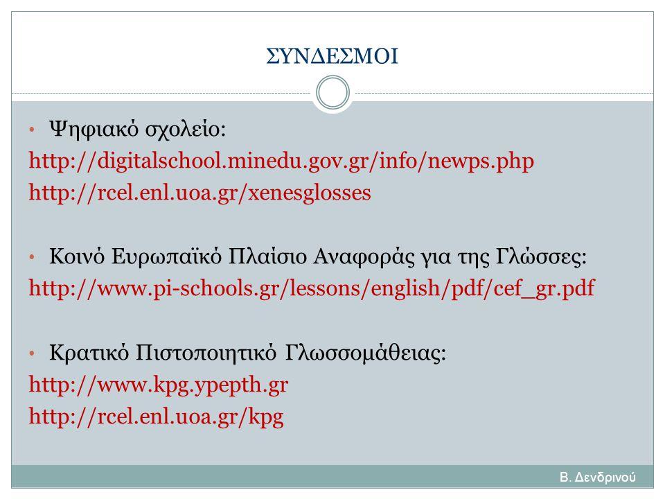 Β. Δενδρινού ΣΥΝΔΕΣΜΟΙ • Ψηφιακό σχολείο: http://digitalschool.minedu.gov.gr/info/newps.php http://rcel.enl.uoa.gr/xenesglosses • Κοινό Ευρωπαϊκό Πλαί