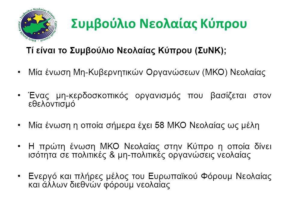 Συμβούλιο Νεολαίας Κύπρου Τί είναι το Συμβούλιο Νεολαίας Κύπρου (ΣυΝΚ); •Μία ένωση Μη-Κυβερνητικών Οργανώσεων (ΜΚΟ) Νεολαίας •Ένας μη-κερδοσκοπικός οργανισμός που βασίζεται στον εθελοντισμό •Μία ένωση η οποία σήμερα έχει 58 ΜΚΟ Νεολαίας ως μέλη •Η πρώτη ένωση ΜΚΟ Νεολαίας στην Κύπρο η οποία δίνει ισότητα σε πολιτικές & μη-πολιτικές οργανώσεις νεολαίας •Ενεργό και πλήρες μέλος του Ευρωπαϊκού Φόρουμ Νεολαίας και άλλων διεθνών φόρουμ νεολαίας