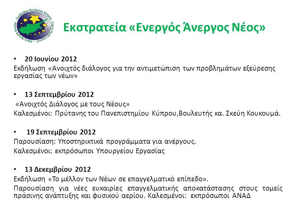 Εκστρατεία «Ενεργός Άνεργος Νέος» • 20 Ιουνίου 2012 Εκδήλωση «Ανοιχτός διάλογος για την αντιμετώπιση των προβλημάτων εξεύρεσης εργασίας των νέων» • 13 Σεπτεμβρίου 2012 «Ανοιχτός Διάλογος με τους Νέους» Καλεσμένοι: Πρύτανης του Πανεπιστημίου Κύπρου,Βουλευτής κα.