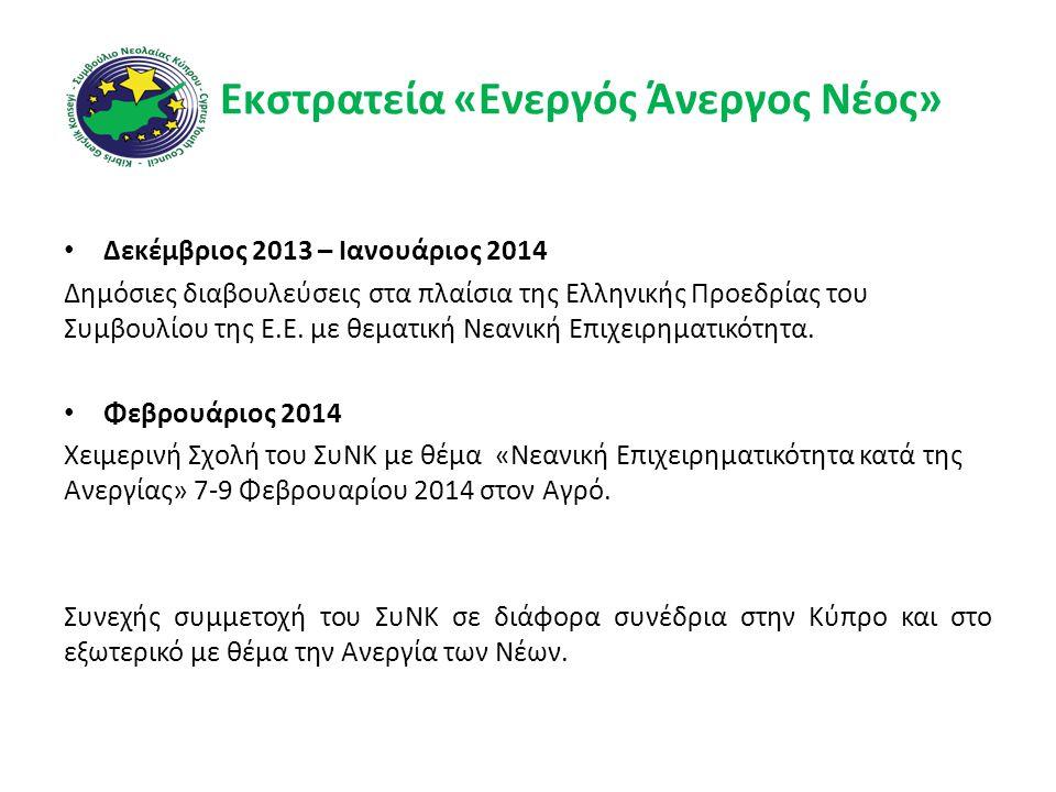 Εκστρατεία «Ενεργός Άνεργος Νέος» • Δεκέμβριος 2013 – Ιανουάριος 2014 Δημόσιες διαβουλεύσεις στα πλαίσια της Ελληνικής Προεδρίας του Συμβουλίου της Ε.Ε.