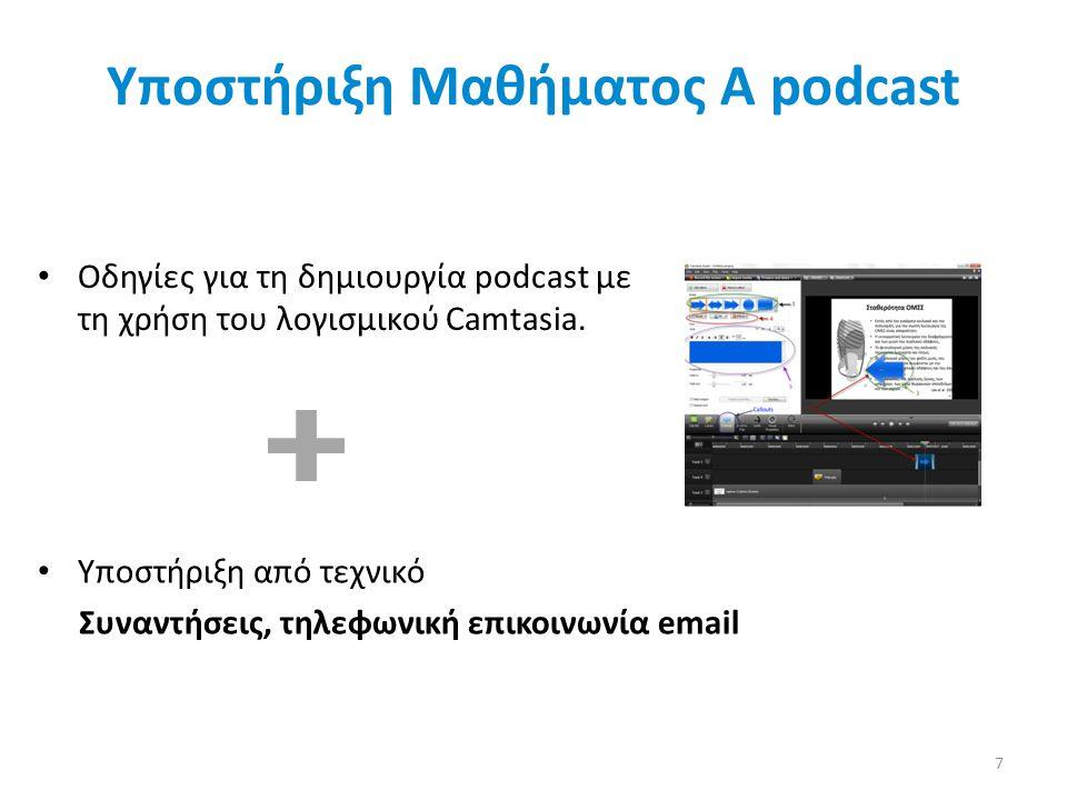 Υποστήριξη Μαθήματος Α podcast 7 • Οδηγίες για τη δημιουργία podcast με τη χρήση του λογισμικού Camtasia. • Υποστήριξη από τεχνικό Συναντήσεις, τηλεφω