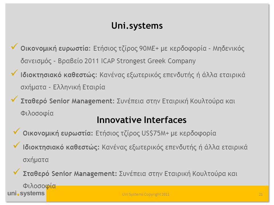 Uni.systems Uni Systems Copyright 201121  Οικονομική ευρωστία: Ετήσιος τζίρος 90MΕ+ με κερδοφορία – Μηδενικός δανεισμός – Βραβείο 2011 ΙCAP Strongest Greek Company  Ιδιοκτησιακό καθεστώς: Κανένας εξωτερικός επενδυτής ή άλλα εταιρικά σχήματα – Ελληνική Εταιρία  Σταθερό Senior Management: Συνέπεια στην Εταιρική Κουλτούρα και Φιλοσοφία  Οικονομική ευρωστία: Ετήσιος τζίρος US$75M+ με κερδοφορία  Ιδιοκτησιακό καθεστώς: Κανένας εξωτερικός επενδυτής ή άλλα εταιρικά σχήματα  Σταθερό Senior Management: Συνέπεια στην Εταιρική Κουλτούρα και Φιλοσοφία Innovative Interfaces