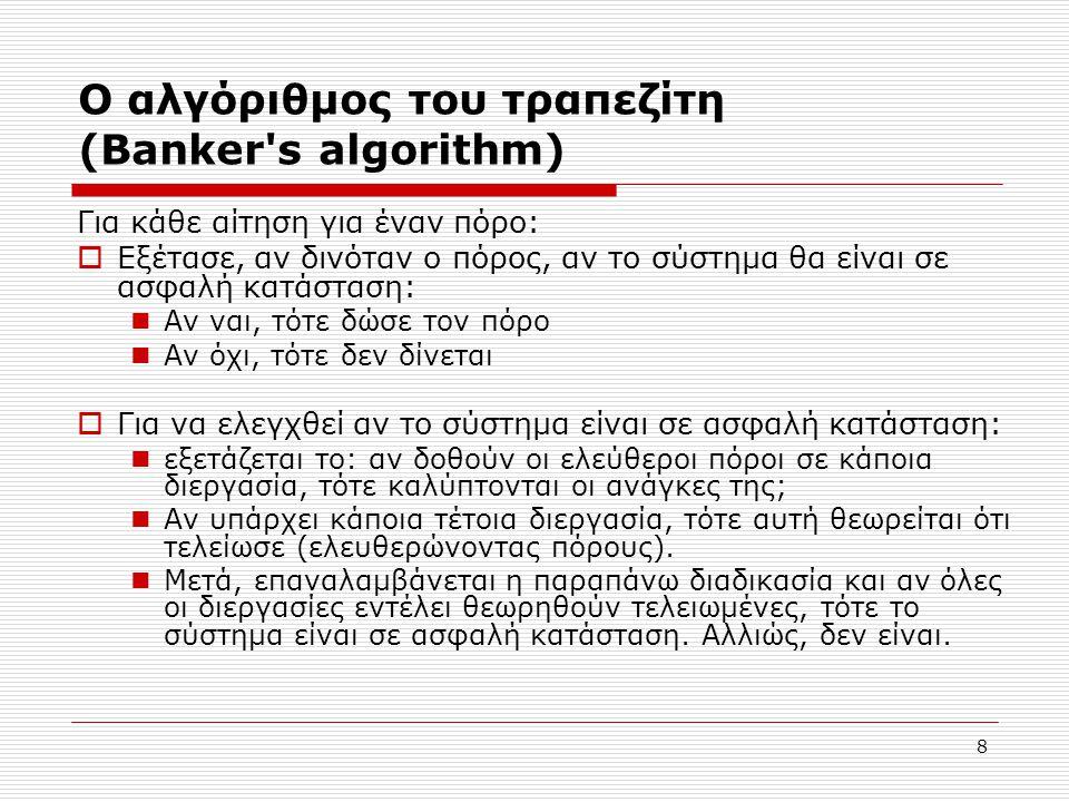 8 Ο αλγόριθμος του τραπεζίτη (Banker's algorithm) Για κάθε αίτηση για έναν πόρο:  Εξέτασε, αν δινόταν ο πόρος, αν το σύστημα θα είναι σε ασφαλή κατάσ