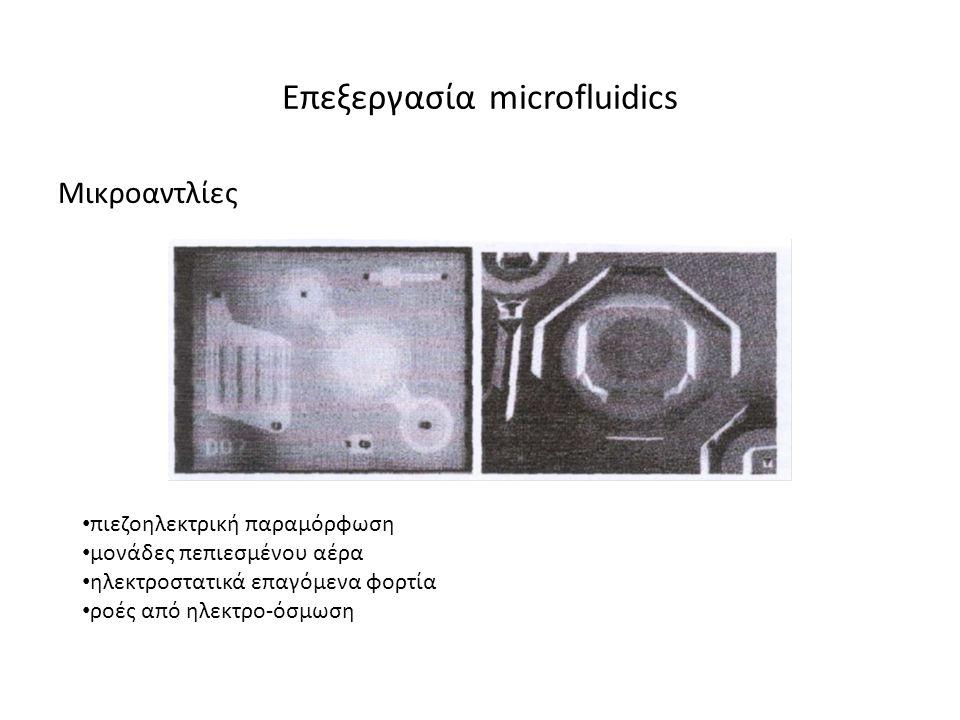 Επεξεργασία microfluidics Μικροαντλίες • πιεζοηλεκτρική παραµόρφωση • µονάδες πεπιεσµένου αέρα • ηλεκτροστατικά επαγόµενα φορτία • ροές από ηλεκτρο-όσµωση