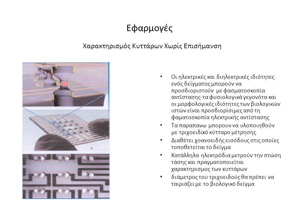 Εφαρμογές • Οι ηλεκτρικές και διηλεκτρικές ιδιότητες ενός δείγματος μπορούν να προσδιοριστούν με φασματοσκοπία αντίστασης-τα φυσιολογικά γεγονότα και οι μορφολογικές ιδιότητες των βιολογικών ιστών είναι προσδιορίσιμες από τη φαματοσκοπία ηλεκτρικής αντίστασης • Τα παραπανω μπορουν να υλοποιηθούν με τριχοειδικό κύτταρο μέτρησης • Διαθέτει χοανοειδής εισόδους στις οποίες τοποθετείται το δείγμα • Κατάλληλα ηλεκτρόδια μετρούν την πτώση τάσης και πραγματοποιείται χαρακτηρισμος των κυττάρων • διάμετρος του τριχοειδούς θα πρέπει να ταιριάζει με το βιολογικό δείγμα Χαρακτηρισμός Κυττάρων Χωρίς Επισήμανση