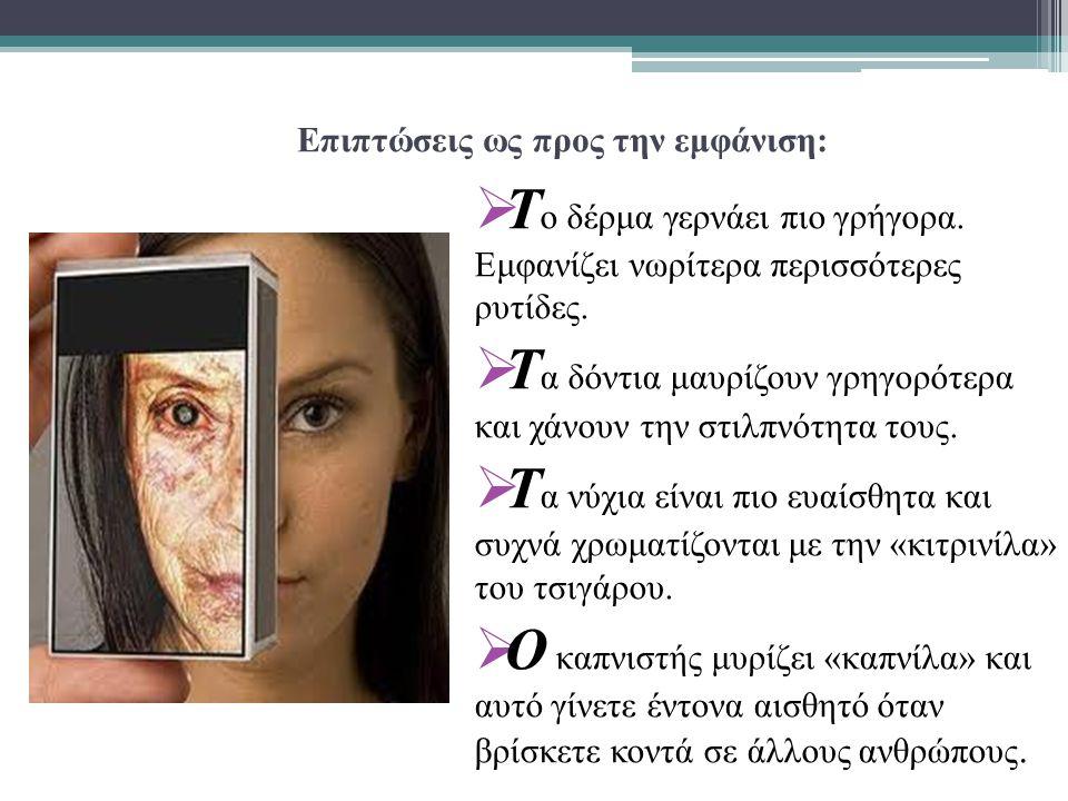 Επιπτώσεις ως προς την εμφάνιση:  Τ ο δέρμα γερνάει πιο γρήγορα.