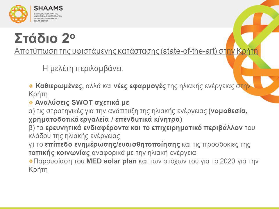 Στάδιο 2 ο Αποτύπωση της υφιστάμενης κατάστασης (state-of-the-art) στην Κρήτη Η μελέτη περιλαμβάνει: Καθιερωμένες, αλλά και νέες εφαρμογές της ηλιακής ενέργειας στην Κρήτη Αναλύσεις SWOT σχετικά με α) τις στρατηγικές για την ανάπτυξη της ηλιακής ενέργειας (νομοθεσία, χρηματοδοτικά εργαλεία / επενδυτικά κίνητρα) β) τα ερευνητικά ενδιαφέροντα και το επιχειρηματικό περιβάλλον του κλάδου της ηλιακής ενέργειας γ) το επίπεδο ενημέρωσης/ευαισθητοποίησης και τις προσδοκίες της τοπικής κοινωνίας αναφορικά με την ηλιακή ενέργεια Παρουσίαση του MED solar plan και των στόχων του για το 2020 για την Κρήτη