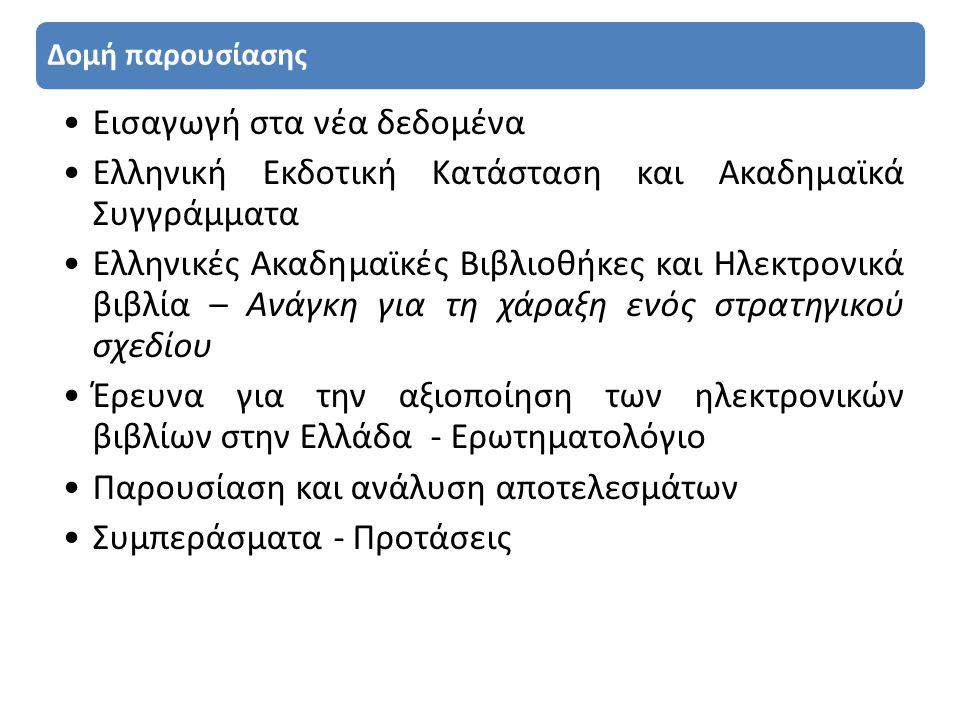Δομή παρουσίασης •Εισαγωγή στα νέα δεδομένα •Ελληνική Εκδοτική Κατάσταση και Ακαδημαϊκά Συγγράμματα •Ελληνικές Ακαδημαϊκές Βιβλιοθήκες και Ηλεκτρονικά