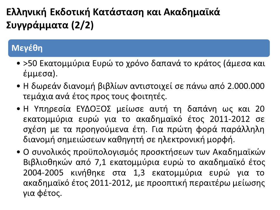 Ελληνική Εκδοτική Κατάσταση και Ακαδημαϊκά Συγγράμματα (2/2) Μεγέθη •>50 Εκατομμύρια Ευρώ το χρόνο δαπανά το κράτος (άμεσα και έμμεσα). •Η δωρεάν διαν
