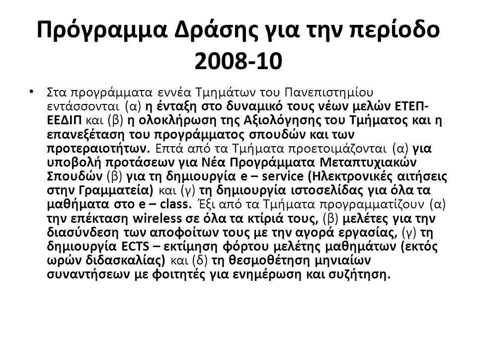 Πρόγραμμα Δράσης για την περίοδο 2008-10 • Στα προγράμματα εννέα Τμημάτων του Πανεπιστημίου εντάσσονται (α) η ένταξη στο δυναμικό τους νέων μελών ΕΤΕΠ- ΕΕΔΙΠ και (β) η ολοκλήρωση της Αξιολόγησης του Τμήματος και η επανεξέταση του προγράμματος σπουδών και των προτεραιοτήτων.