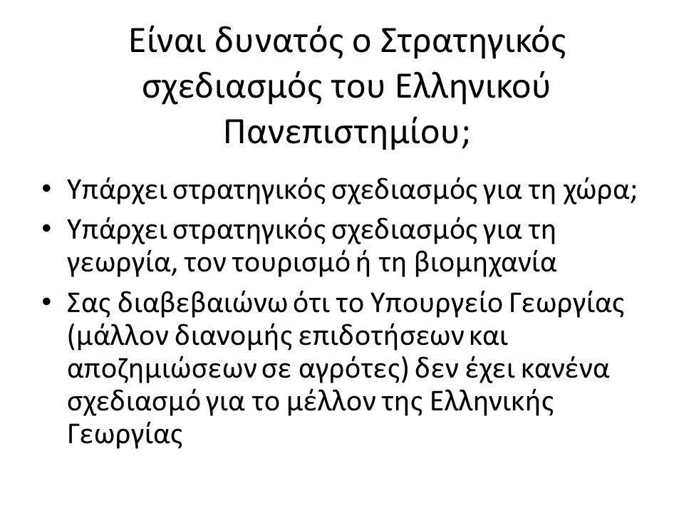Είναι δυνατός ο Στρατηγικός σχεδιασμός του Ελληνικού Πανεπιστημίου; • Υπάρχει στρατηγικός σχεδιασμός για τη χώρα; • Υπάρχει στρατηγικός σχεδιασμός για τη γεωργία, τον τουρισμό ή τη βιομηχανία • Σας διαβεβαιώνω ότι το Υπουργείο Γεωργίας (μάλλον διανομής επιδοτήσεων και αποζημιώσεων σε αγρότες) δεν έχει κανένα σχεδιασμό για το μέλλον της Ελληνικής Γεωργίας