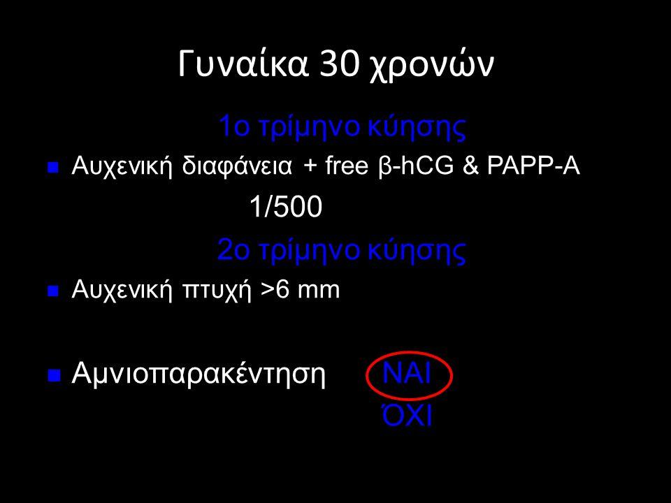 Γυναίκα 30 χρονών 1ο τρίμηνο κύησης  Αυχενική διαφάνεια + free β-hCG & PAPP-A 1/500 2ο τρίμηνο κύησης  Αυχενική πτυχή >6 mm  Αμνιοπαρακέντηση ΝΑΙ Ό
