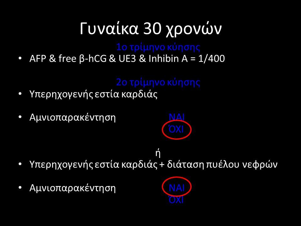 Γυναίκα 30 χρονών 1ο τρίμηνο κύησης • AFP & free β-hCG & UE3 & Inhibin A = 1/400 2ο τρίμηνο κύησης • Υπερηχογενής εστία καρδιάς • Αμνιοπαρακέντηση ΝΑΙ