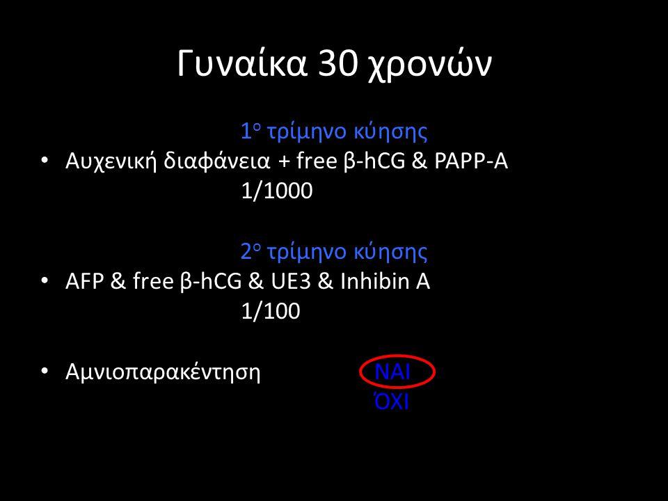 Γυναίκα 30 χρονών 1 ο τρίμηνο κύησης • Αυχενική διαφάνεια + free β-hCG & PAPP-A 1/1000 2 ο τρίμηνο κύησης • AFP & free β-hCG & UE3 & Inhibin A 1/100 •