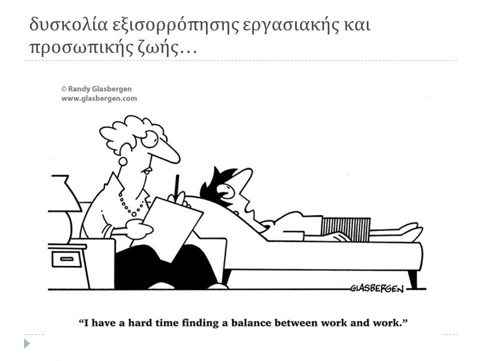 δυσκολία εξισορρόπησης εργασιακής και προσωπικής ζωής …