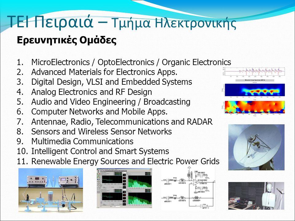 ΤΕΙ Πειραιά – Τμήμα Ηλεκτρονικής Ερευνητικές Ομάδες 1.MicroElectronics / OptoElectronics / Organic Electronics 2.Advanced Materials for Electronics Ap