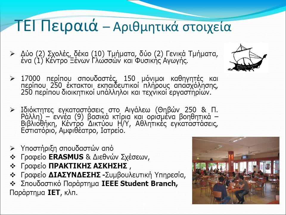 ΤΕΙ Πειραιά – Αριθμητικά στοιχεία  Δύο (2) Σχολές, δέκα (10) Τμήματα, δύο (2) Γενικά Τμήματα, ένα (1) Κέντρο Ξένων Γλωσσών και Φυσικής Αγωγής.  1700