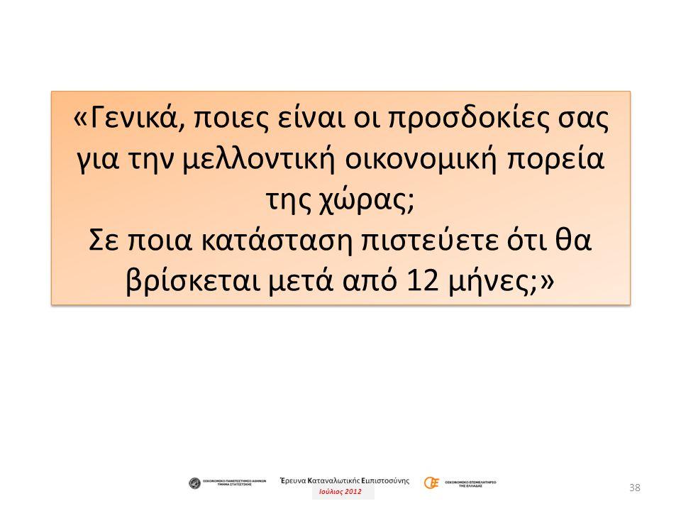 Ιούλιος 2012 38 «Γενικά, ποιες είναι οι προσδοκίες σας για την μελλοντική οικονομική πορεία της χώρας; Σε ποια κατάσταση πιστεύετε ότι θα βρίσκεται μετά από 12 μήνες;» «Γενικά, ποιες είναι οι προσδοκίες σας για την μελλοντική οικονομική πορεία της χώρας; Σε ποια κατάσταση πιστεύετε ότι θα βρίσκεται μετά από 12 μήνες;»