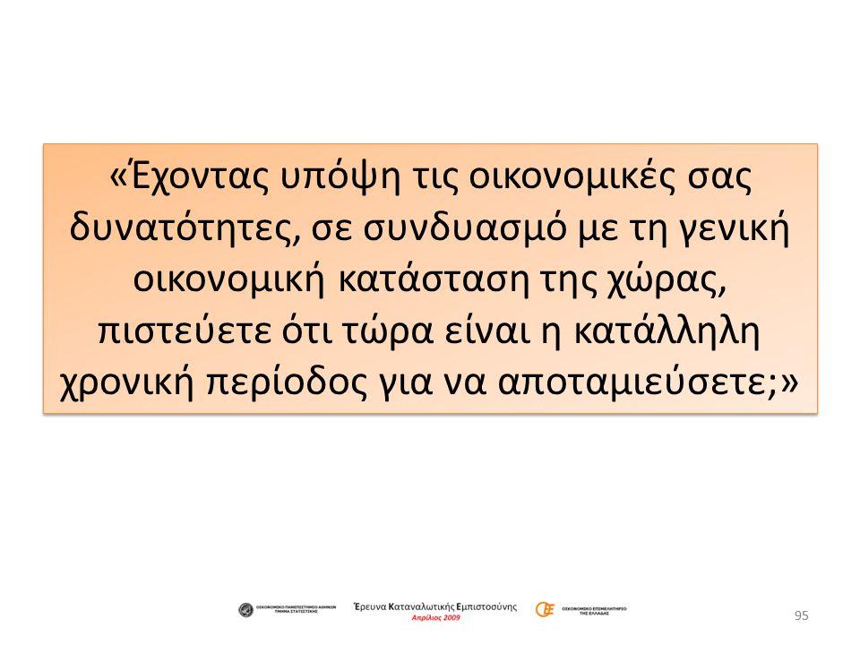 Ιούλιος 2012 «Έχοντας υπόψη τις οικονομικές σας δυνατότητες, σε συνδυασμό με τη γενική οικονομική κατάσταση της χώρας, πιστεύετε ότι τώρα είναι η κατάλληλη χρονική περίοδος για να αποταμιεύσετε;» 96