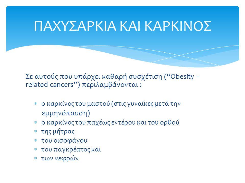 Σε αυτούς που υπάρχει καθαρή συσχέτιση ( Obesity – related cancers ) περιλαμβάνονται :  ο καρκίνος του μαστού (στις γυναίκες μετά την εμμηνόπαυση)  ο καρκίνος του παχέως εντέρου και του ορθού  της μήτρας  του οισοφάγου  του παγκρέατος και  των νεφρών ΠΑΧΥΣΑΡΚΙΑ ΚΑΙ ΚΑΡΚΙΝΟΣ