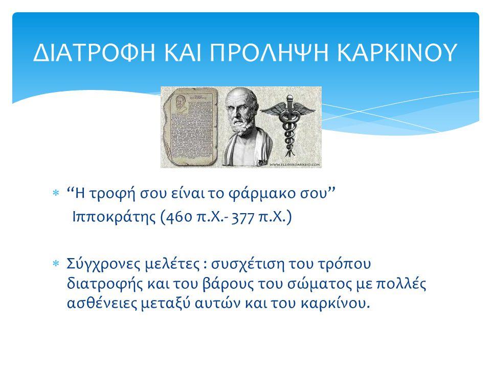""" """"Η τροφή σου είναι το φάρμακο σου"""" Ιπποκράτης (460 π.Χ.- 377 π.Χ.)  Σύγχρονες μελέτες : συσχέτιση του τρόπου διατροφής και του βάρους του σώματος μ"""