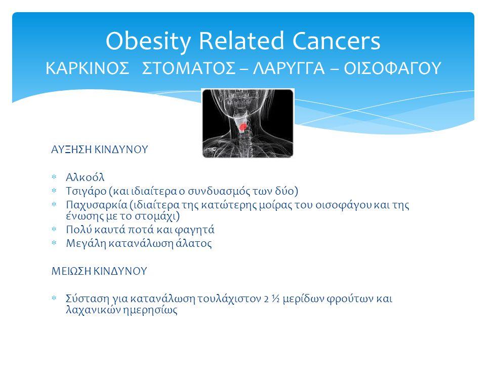 ΑΥΞΗΣΗ ΚΙΝΔΥΝΟΥ  Αλκοόλ  Τσιγάρο (και ιδιαίτερα ο συνδυασμός των δύο)  Παχυσαρκία (ιδιαίτερα της κατώτερης μοίρας του οισοφάγου και της ένωσης με το στομάχι)  Πολύ καυτά ποτά και φαγητά  Μεγάλη κατανάλωση άλατος ΜΕΙΩΣΗ ΚΙΝΔΥΝΟΥ  Σύσταση για κατανάλωση τουλάχιστον 2 ½ μερίδων φρούτων και λαχανικών ημερησίως Obesity Related Cancers ΚΑΡΚΙΝΟΣ ΣΤΟΜΑΤΟΣ – ΛΑΡΥΓΓΑ – ΟΙΣΟΦΑΓΟΥ