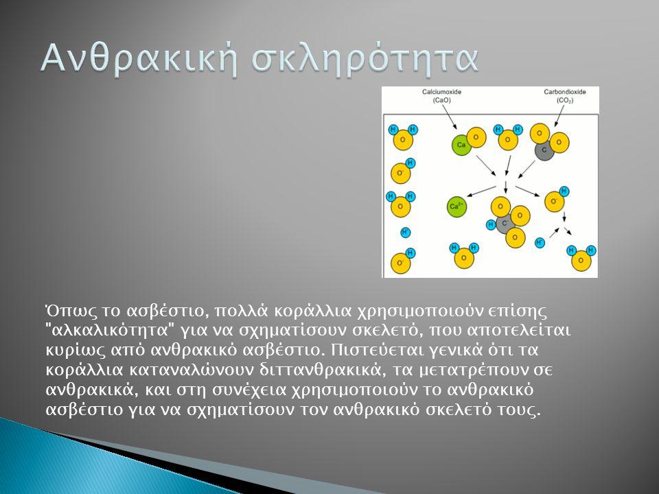 Όπως το ασβέστιο, πολλά κοράλλια χρησιμοποιούν επίσης αλκαλικότητα για να σχηματίσουν σκελετό, που αποτελείται κυρίως από ανθρακικό ασβέστιο.