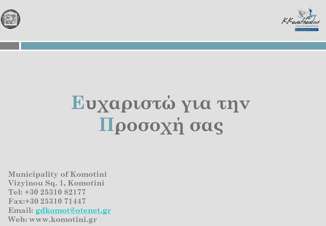 Ευχαριστώ για την Προσοχή σας Municipality of Komotini Vizyinou Sq. 1, Komotini Tel: +30 25310 82177 Fax:+30 25310 71447 Email: gdkomot@otenet.grgdkom