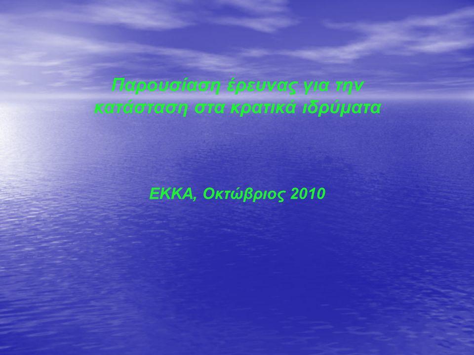 Παρουσίαση έρευνας για την κατάσταση στα κρατικά ιδρύματα ΕΚΚΑ, Οκτώβριος 2010