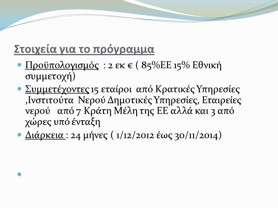 Στοιχεία για το πρόγραμμα  Προϋπολογισμός : 2 εκ € ( 85%ΕΕ 15% Εθνική συμμετοχή)  Συμμετέχοντες 15 εταίροι από Κρατικές Υπηρεσίες,Ινστιτούτα Νερού Δημοτικές Υπηρεσίες, Εταιρείες νερού από 7 Κράτη Μέλη της ΕΕ αλλά και 3 από χώρες υπό ένταξη  Διάρκεια : 24 μήνες ( 1/12/2012 έως 30/11/2014) 