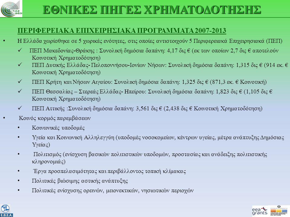 ΕΘΝΙΚΕΣ ΠΗΓΕΣ ΧΡΗΜΑΤΟΔΟΤΗΣΗΣ ΠΕΡΙΦΕΡΕΙΑΚΑ ΕΠΙΧΕΙΡΗΣΙΑΚΑ ΠΡΟΓΡΑΜΜΑΤΑ 2007-2013 • Η Ελλάδα χωρίσθηκε σε 5 χωρικές ενότητες, στις οποίες αντιστοιχούν 5 Περιφερειακά Επιχειρησιακά (ΠΕΠ)  ΠΕΠ Μακεδονίας-Θράκης : Συνολική δημόσια δαπάνη: 4,17 δις € (εκ των οποίων 2,7 δις € αποτελούν Κοινοτική Χρηματοδότηση)  ΠΕΠ Δυτικής Ελλάδας- Πελοποννήσου-Ιονίων Νήσων: Συνολική δημόσια δαπάνη: 1,315 δις € (914 εκ.