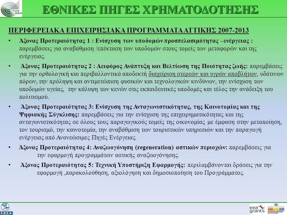 ΕΘΝΙΚΕΣ ΠΗΓΕΣ ΧΡΗΜΑΤΟΔΟΤΗΣΗΣ ΠΕΡΙΦΕΡΕΙΑΚΑ ΕΠΙΧΕΙΡΗΣΙΑΚΑ ΠΡΟΓΡΑΜΜΑΤΑ ΑΤΤΙΚΗΣ 2007-2013 • Άξονας Προτεραιότητας 1 : Ενίσχυση των υποδομών προσπελασιμότητας –ενέργειας : παρεμβάσεις για αναβάθμιση /επέκταση των υποδομών στους τομείς των μεταφορών και της ενέργειας.