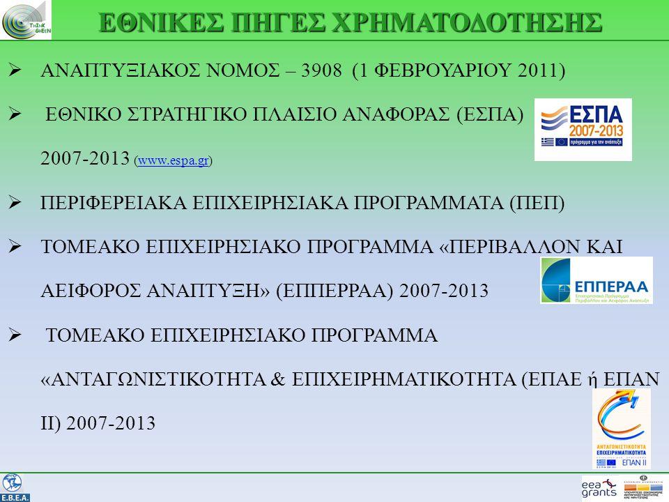ΕΘΝΙΚΕΣ ΠΗΓΕΣ ΧΡΗΜΑΤΟΔΟΤΗΣΗΣ  ΑΝΑΠΤΥΞΙΑΚΟΣ ΝΟΜΟΣ – 3908 (1 ΦΕΒΡΟΥΑΡΙΟΥ 2011)  ΕΘΝΙΚΟ ΣΤΡΑΤΗΓΙΚΟ ΠΛΑΙΣΙΟ ΑΝΑΦΟΡΑΣ (ΕΣΠΑ) 2007-2013 (www.espa.gr)www.espa.gr  ΠΕΡΙΦΕΡΕΙΑΚΑ ΕΠΙΧΕΙΡΗΣΙΑΚΑ ΠΡΟΓΡΑΜΜΑΤΑ (ΠΕΠ)  ΤΟΜΕΑΚΟ ΕΠΙΧΕΙΡΗΣΙΑΚΟ ΠΡΟΓΡΑΜΜΑ «ΠΕΡΙΒΑΛΛΟΝ ΚΑΙ ΑΕΙΦΟΡΟΣ ΑΝΑΠΤΥΞΗ» (ΕΠΠΕΡΡΑΑ) 2007-2013  ΤΟΜΕΑΚΟ ΕΠΙΧΕΙΡΗΣΙΑΚΟ ΠΡΟΓΡΑΜΜΑ «ΑΝΤΑΓΩΝΙΣΤΙΚΟΤΗΤΑ & ΕΠΙΧΕΙΡΗΜΑΤΙΚΟΤΗΤΑ (ΕΠΑΕ ή ΕΠΑΝ ΙΙ) 2007-2013