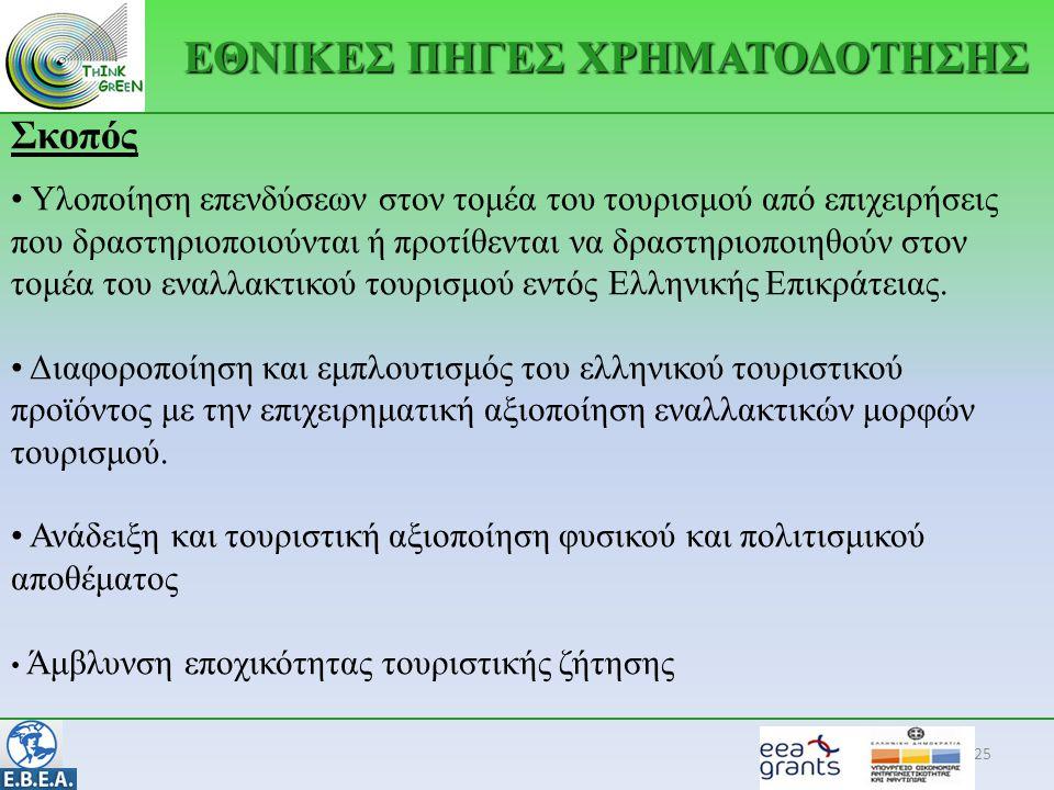 25 Σκοπός • Υλοποίηση επενδύσεων στον τομέα του τουρισμού από επιχειρήσεις που δραστηριοποιούνται ή προτίθενται να δραστηριοποιηθούν στον τομέα του εναλλακτικού τουρισμού εντός Ελληνικής Επικράτειας.