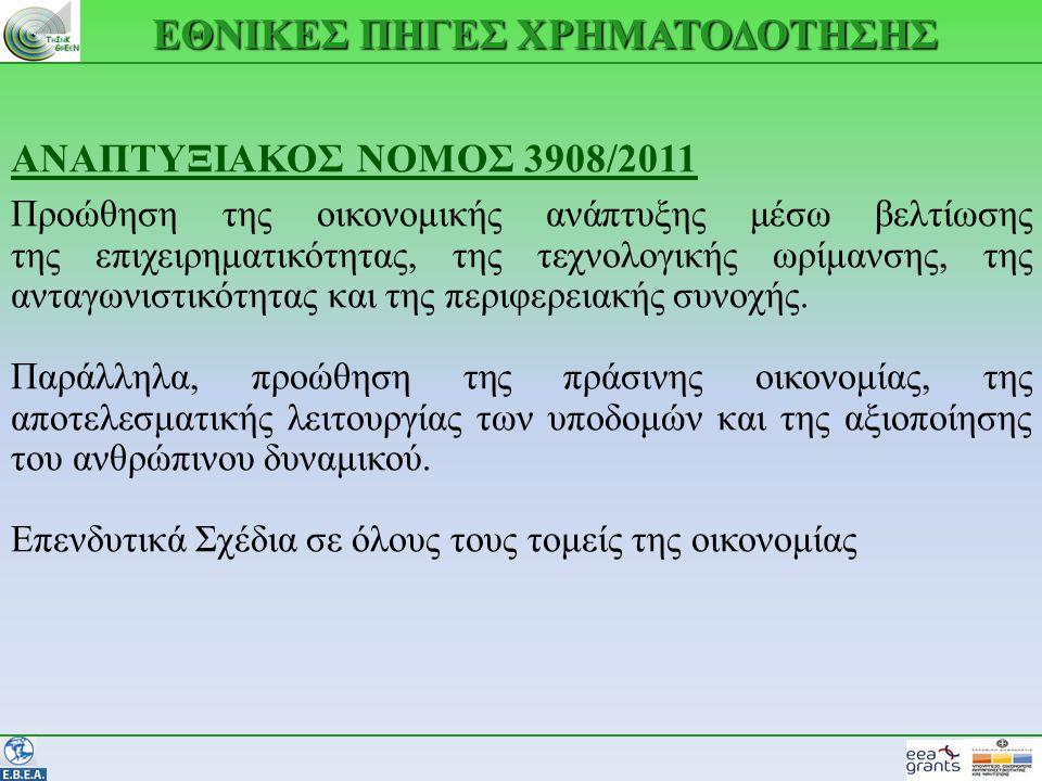 ΕΘΝΙΚΕΣ ΠΗΓΕΣ ΧΡΗΜΑΤΟΔΟΤΗΣΗΣ ΑΝΑΠΤΥΞΙΑΚΟΣ ΝΟΜΟΣ 3908/2011 Προώθηση της οικονομικής ανάπτυξης μέσω βελτίωσης της επιχειρηματικότητας, της τεχνολογικής ωρίμανσης, της ανταγωνιστικότητας και της περιφερειακής συνοχής.