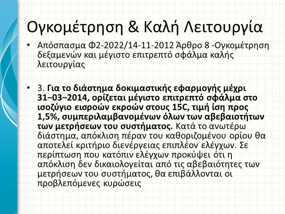 Ογκομέτρηση & Καλή Λειτουργία • Απόσπασμα Φ2-2022/14-11-2012 Άρθρο 8 -Ογκομέτρηση δεξαμενών και μέγιστο επιτρεπτό σφάλμα καλής λειτουργίας • 3. Για το
