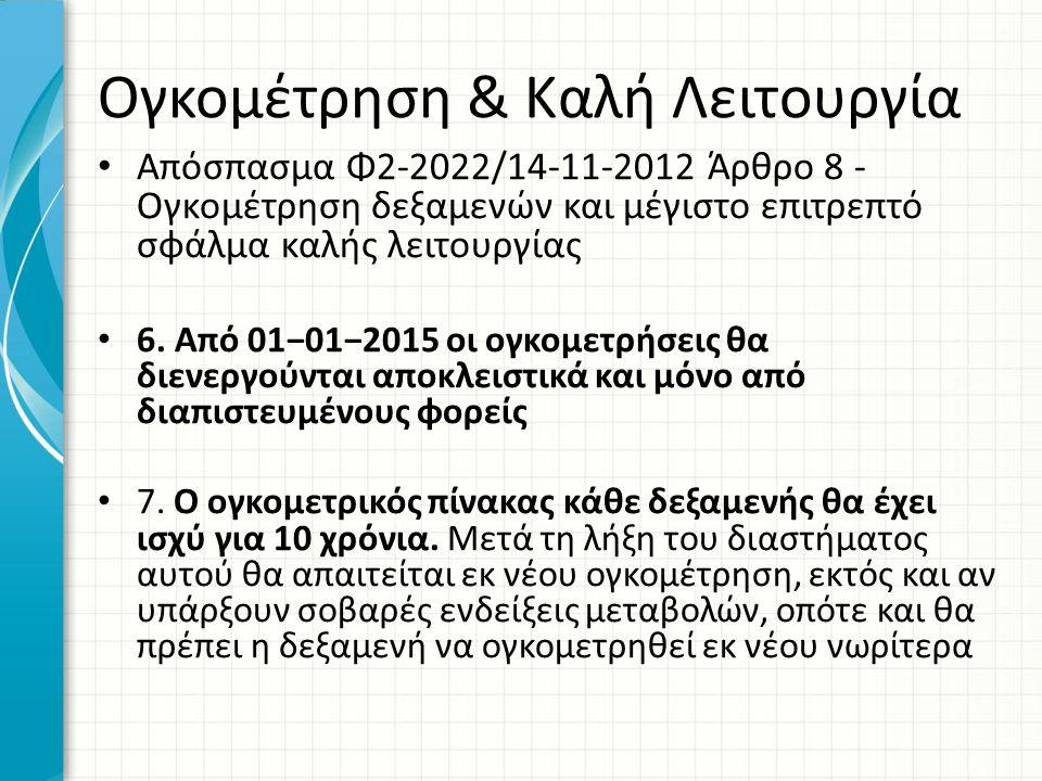 Ογκομέτρηση & Καλή Λειτουργία • Απόσπασμα Φ2-2022/14-11-2012 Άρθρο 8 - Ογκομέτρηση δεξαμενών και μέγιστο επιτρεπτό σφάλμα καλής λειτουργίας • 6. Από 0