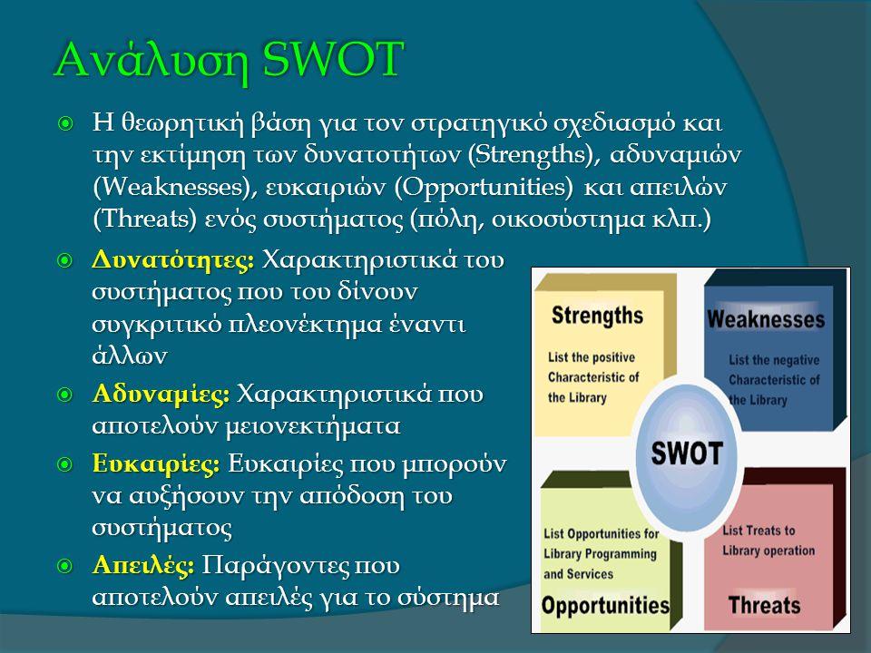 Ανάλυση SWOT  Η θεωρητική βάση για τον στρατηγικό σχεδιασμό και την εκτίμηση των δυνατοτήτων (Strengths), αδυναμιών (Weaknesses), ευκαιριών (Opportunities) και απειλών (Threats) ενός συστήματος (πόλη, οικοσύστημα κλπ.)  Δυνατότητες: Χαρακτηριστικά του συστήματος που του δίνουν συγκριτικό πλεονέκτημα έναντι άλλων  Αδυναμίες: Χαρακτηριστικά που αποτελούν μειονεκτήματα  Ευκαιρίες: Ευκαιρίες που μπορούν να αυξήσουν την απόδοση του συστήματος  Απειλές: Παράγοντες που αποτελούν απειλές για το σύστημα