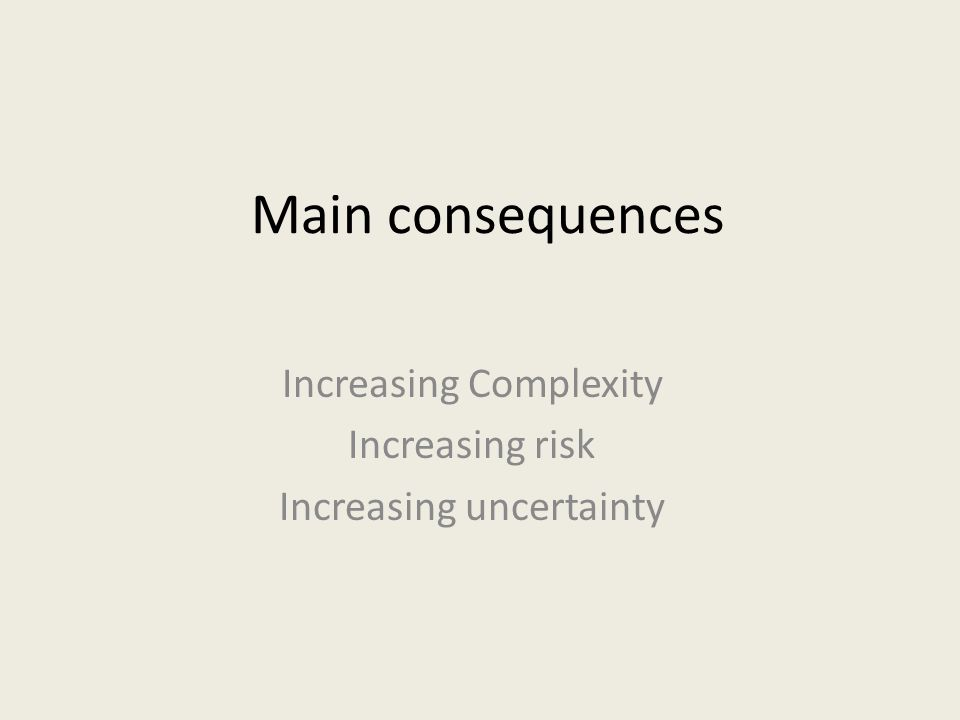 Main consequences Increasing Complexity Increasing risk Increasing uncertainty