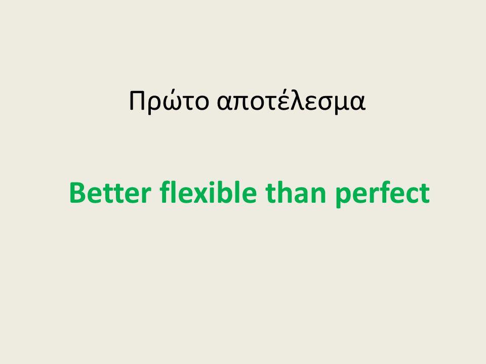 Πρώτο αποτέλεσμα Better flexible than perfect