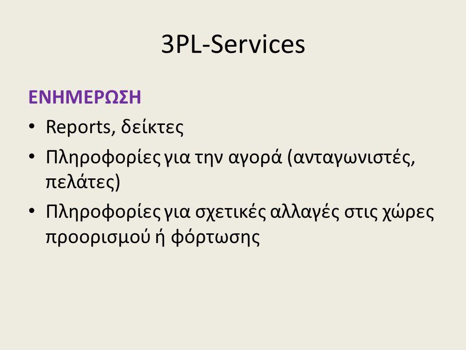 3PL-Services ΕΝΗΜΕΡΩΣΗ • Reports, δείκτες • Πληροφορίες για την αγορά (ανταγωνιστές, πελάτες) • Πληροφορίες για σχετικές αλλαγές στις χώρες προορισμού ή φόρτωσης