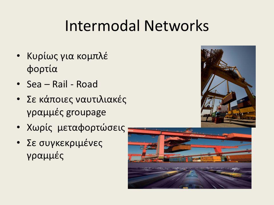 Intermodal Networks • Κυρίως για κομπλέ φορτία • Sea – Rail - Road • Σε κάποιες ναυτιλιακές γραμμές groupage • Χωρίς μεταφορτώσεις • Σε συγκεκριμένες γραμμές