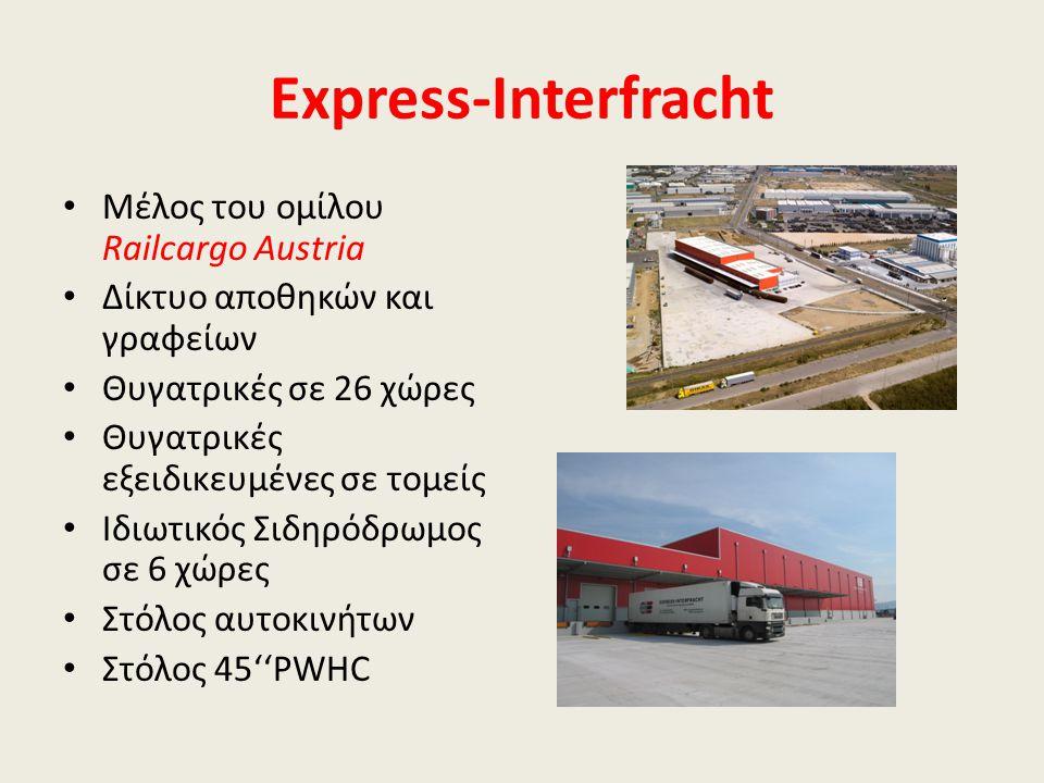 Express-Interfracht • Μέλος του ομίλου Railcargo Austria • Δίκτυο αποθηκών και γραφείων • Θυγατρικές σε 26 χώρες • Θυγατρικές εξειδικευμένες σε τομείς • Ιδιωτικός Σιδηρόδρωμoς σε 6 χώρες • Στόλος αυτοκινήτων • Στόλος 45''PWHC