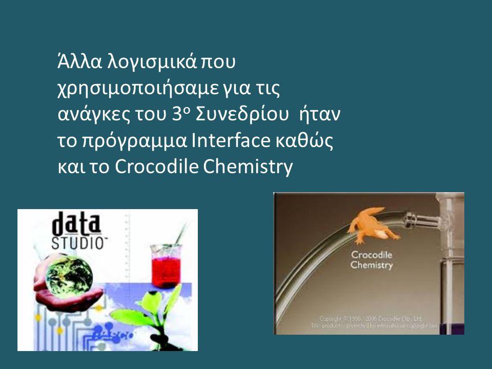 Άλλα λογισμικά που χρησιμοποιήσαμε για τις ανάγκες του 3 ο Συνεδρίου ήταν το πρόγραμμα Interface καθώς και το Crocodile Chemistry