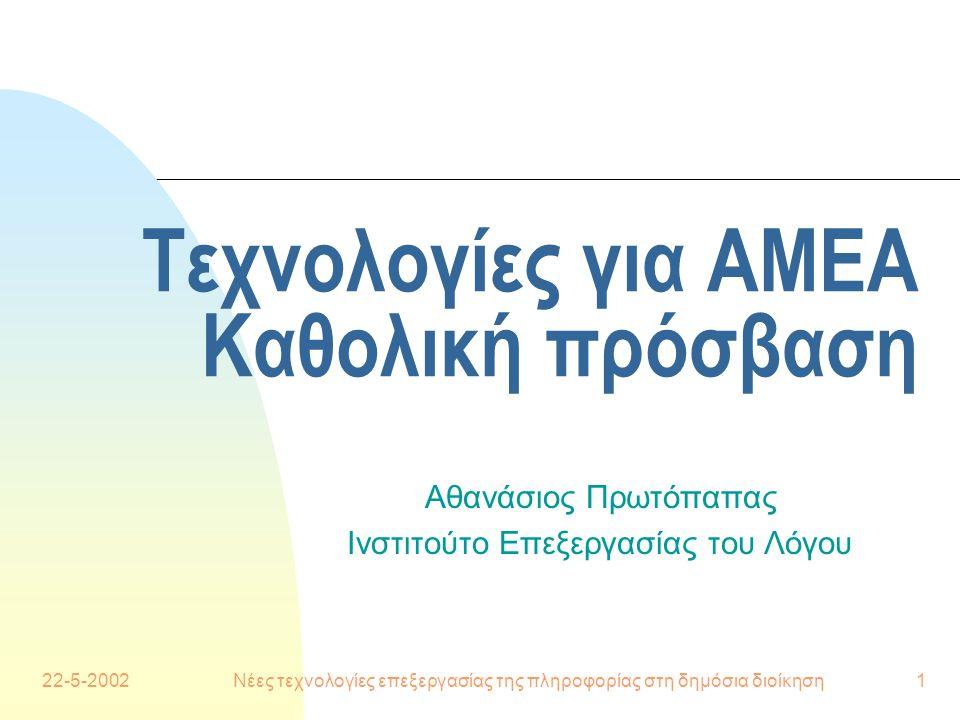 22-5-2002Νέες τεχνολογίες επεξεργασίας της πληροφορίας στη δημόσια διοίκηση1 Τεχνολογίες για ΑΜΕΑ Καθολική πρόσβαση Αθανάσιος Πρωτόπαπας Ινστιτούτο Επεξεργασίας του Λόγου