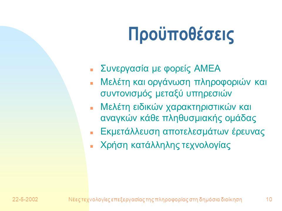 22-5-2002Νέες τεχνολογίες επεξεργασίας της πληροφορίας στη δημόσια διοίκηση10 Προϋποθέσεις n Συνεργασία με φορείς ΑΜΕΑ n Μελέτη και οργάνωση πληροφοριών και συντονισμός μεταξύ υπηρεσιών n Μελέτη ειδικών χαρακτηριστικών και αναγκών κάθε πληθυσμιακής ομάδας n Εκμετάλλευση αποτελεσμάτων έρευνας n Χρήση κατάλληλης τεχνολογίας