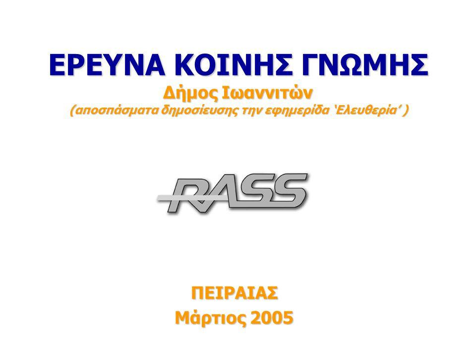 2 Ταυτότητα της έρευνας Περίοδος έρευνας: Περίοδος έρευνας: Η έρευνα διεξήχθη 7 – 8 Μαρτίου 2005.