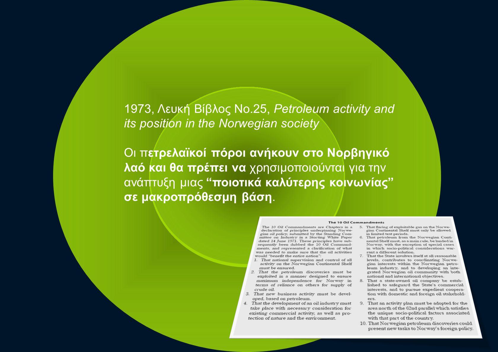 1973, Λευκή Βίβλος Νο.25, Petroleum activity and its position in the Norwegian society Οι πετρελαϊκοί πόροι ανήκουν στο Νορβηγικό λαό και θα πρέπει να